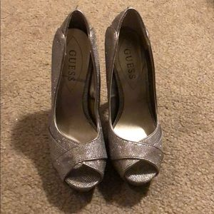 Guess size 7 silver platform heels